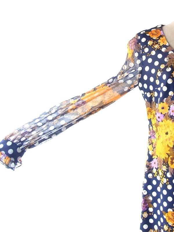 ヨーロッパ古着 ロンドン買い付け 70年代製 ネイビー X 水玉・花柄 ヴィンテージ ワンピース 19BS211