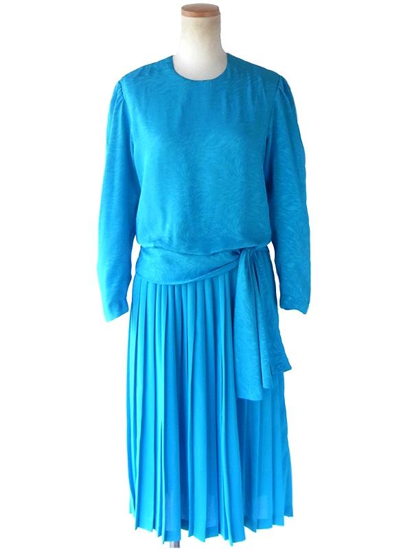 ヨーロッパ古着 ロンドン買い付け 70年代製 ターコイズブルー X 波模様が浮かぶシルク風生地 ドレス 19BS214