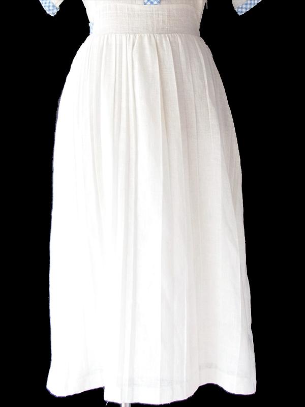 ヨーロッパ古着 ロンドン買い付け 60年代製 ホワイト X 水色 ギンガムチェック プリーツ ワンピース 19BS215