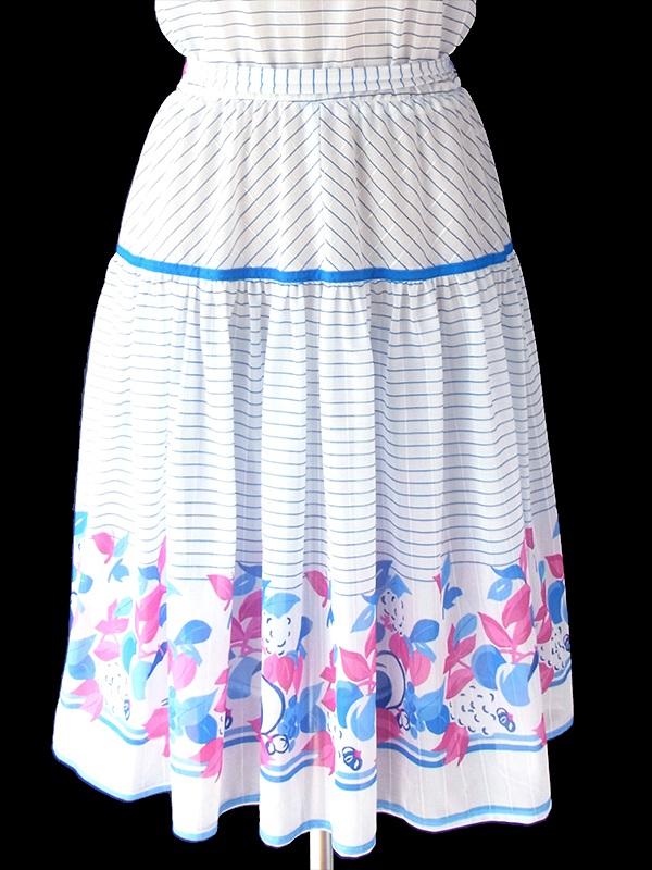 ヨーロッパ古着 70年代フランス製 ホワイト X ブルー・ピンク ストライプ・花柄 共布ベルト付き ワンピース 19FC003