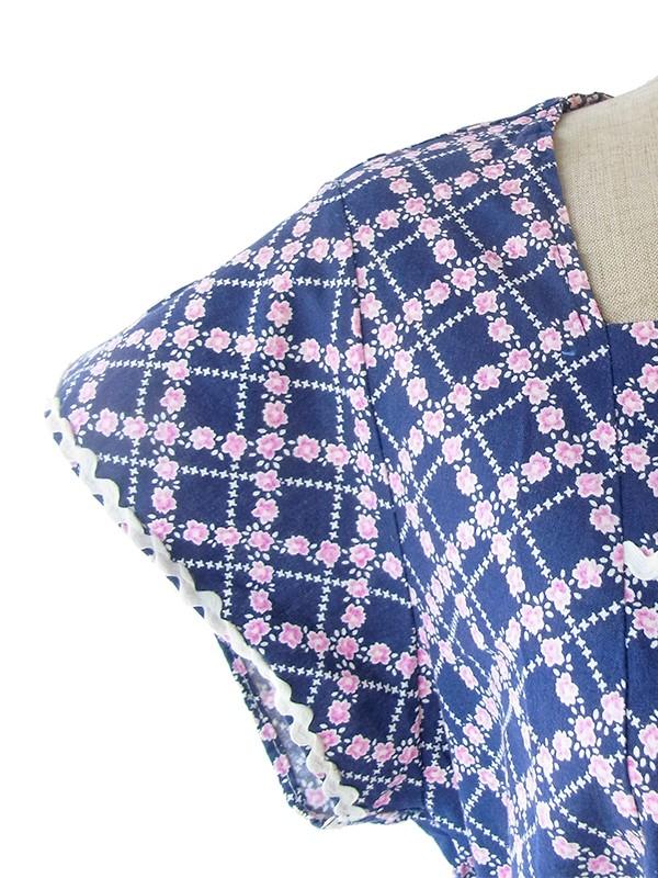 ヨーロッパ古着 60年代フランス製 ネイビー X ピンク 花柄 山道テープ ヴィンテージ ワンピース 19FC010