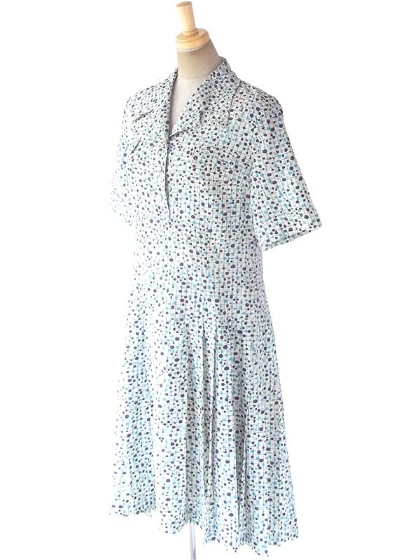 ヨーロッパ古着 フランス買い付け 60年代製 オフホワイト X パープル・水色 格子・水玉 プリーツ ワンピース 19FC025