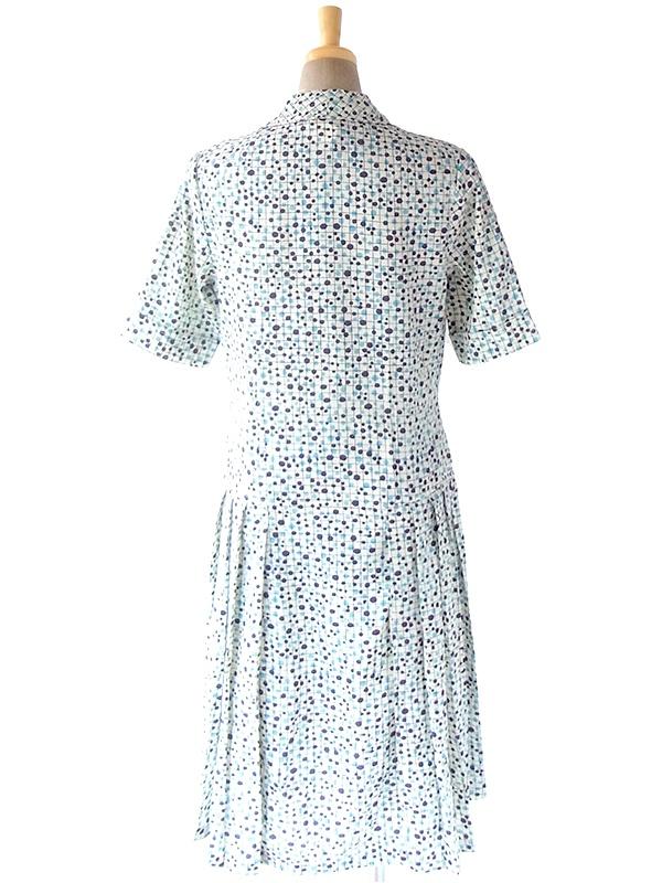 ヨーロッパ古着 フランス買い付け 60年代製 オフホワイト X パープル・水色 格子・水玉 プリーツ ワンピース 19FC028