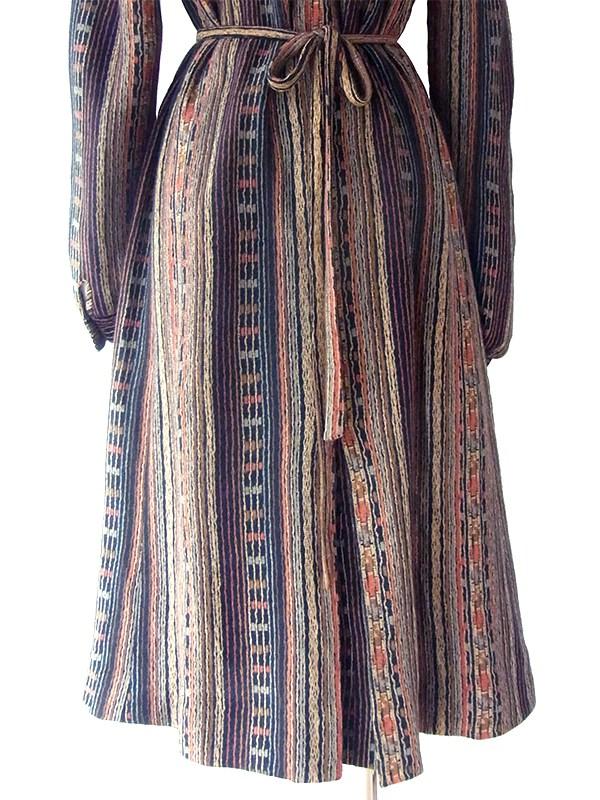 ヨーロッパ古着 フランス買い付け ブラック・ブラウントーン オリエンタル柄 共布ベルト付き ウール ワンピース 19FC020