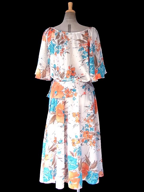 ヨーロッパ古着 70年代フランス製 光沢でスクエアが浮かぶ生地 X オレンジ・水色 花柄 共布ベルト付き ドレス 19FC103