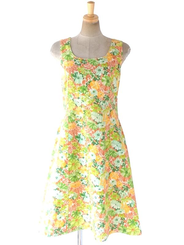 ヨーロッパ古着 フランス買い付け 60年代製 美しい色合いの花柄プリント ヴィンテージ ワンピース 19FC105