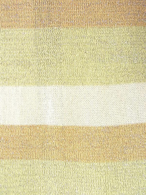 ヨーロッパ古着 70年代フランス製 ゴールド・グリーン・オフホワイト X ボーダー シルバーのラメ糸 ワンピース 19FC107