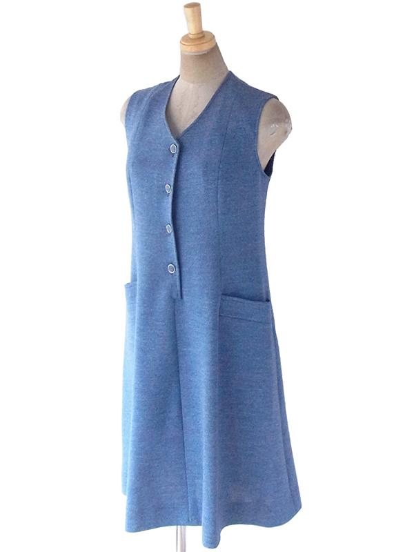 ヨーロッパ古着 フランス買い付け 60年代製 スモーキーブルー X ポケット付き Aライン ウール ワンピース 19FC108