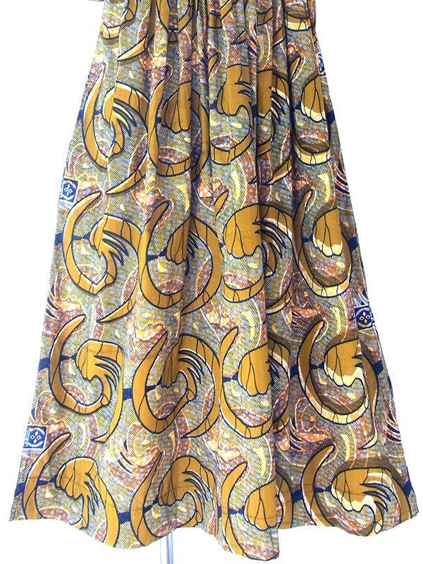 ヨーロッパ古着 フランス買い付け 60年代製 ゴールド X ブルー・オレンジ アフリカンファブリック ギャザー ワンピース 19FC110