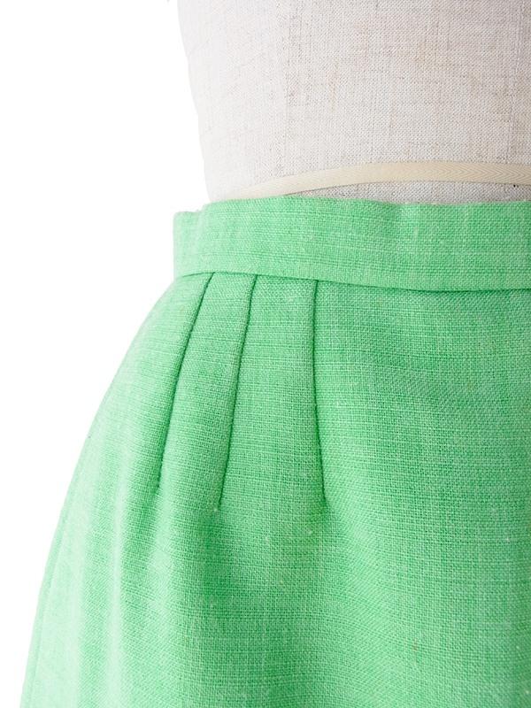 ヨーロッパ古着 フランス買い付け 60年代製 ライムグリーン 前合わせデザイン ヴィンテージ スカート 19FC114