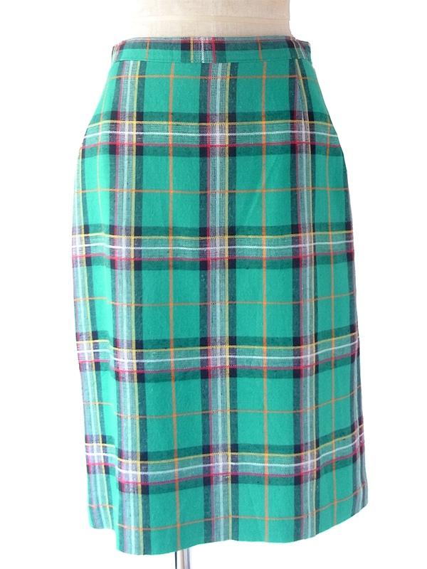 ヨーロッパ古着 フランス買い付け 60年代製 グリーン X カラフルチェック柄 ステッチ ヴィンテージ スカート 19FC116