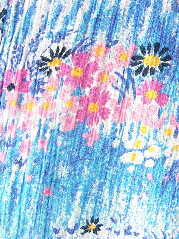 ヨーロッパ古着 フランス買い付け 60年代製 水色 X カラフル花柄 経方向に凹凸が走る生地 ヴィンテージ ワンピース 19FC204