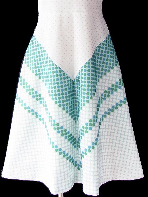 ヨーロッパ古着 フランス買い付け 70年代製 ホワイト X ミントグリーン・ブルー 水玉 バイアス柄 ワンピース 19FC205