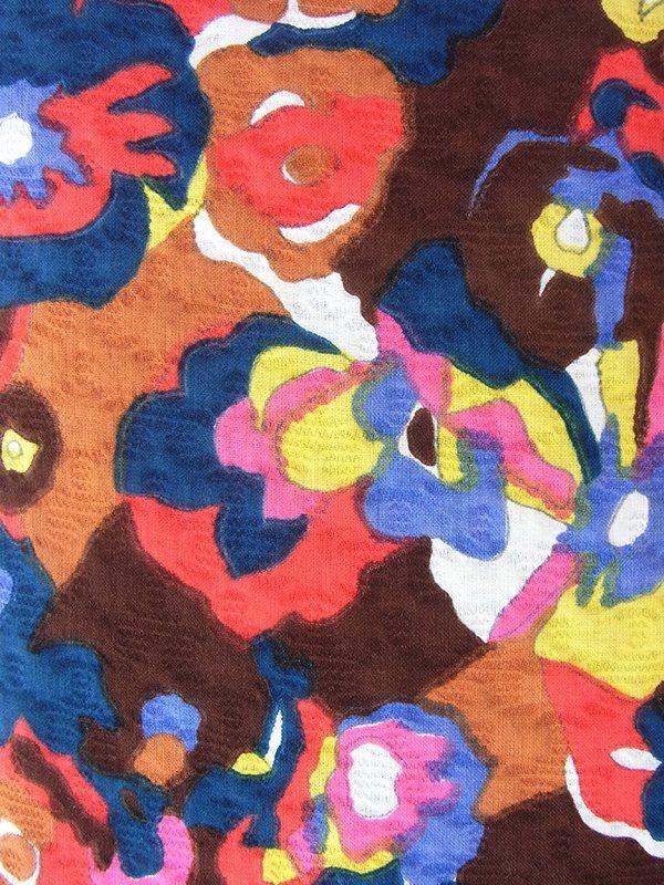 ヨーロッパ古着 フランス買い付け 60年代製 ブラウン X カラフルな花柄モチーフのレトロ柄  ドロップウェスト ワンピース 19FC212