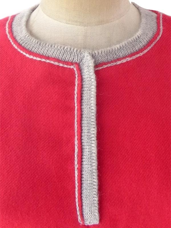 ヨーロッパ古着 フランス買い付け 60年代製 ヴィンテージ レッド X グレイ ライニング ウール ワンピース 19FC300