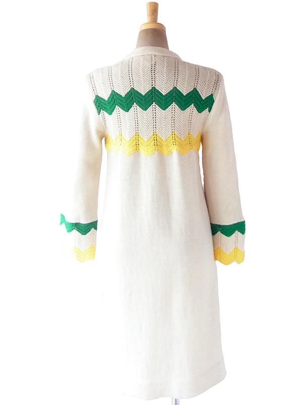 ヨーロッパ古着 フランス買い付け 60年代製 ホワイト X グリーン・イエロー 山切りデザイン ウール ニット ワンピース 19FC303