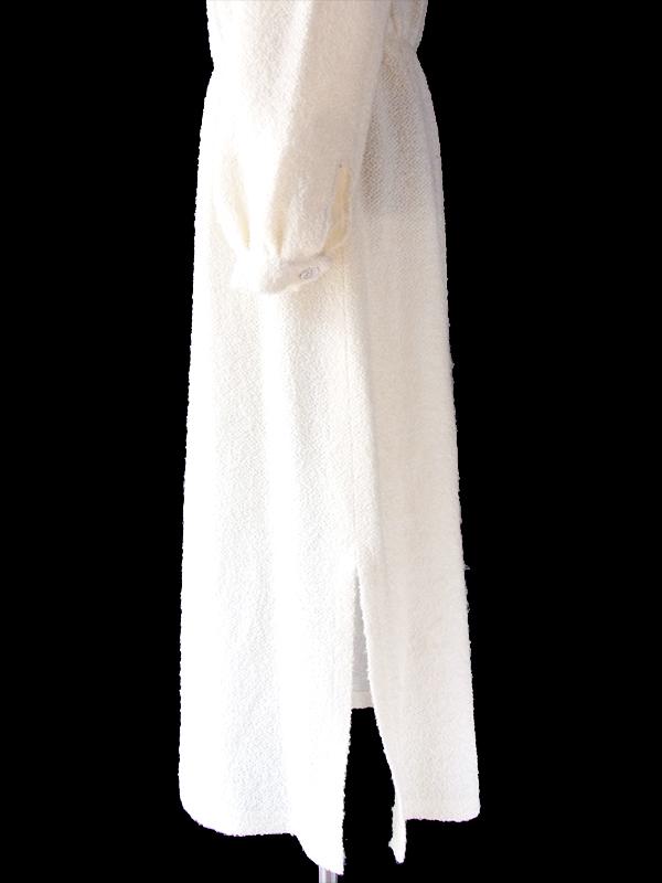 ヨーロッパ古着 60年代フランス製 オフホワイト X タオル地 ボウタイ ワンピース 19FC309