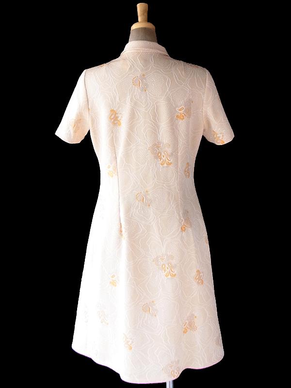 ヨーロッパ古着 フランス買い付け 70年代製 アプリコット X ホワイト オレンジ 花柄 刺繍・プリント ワンピース 19FC315