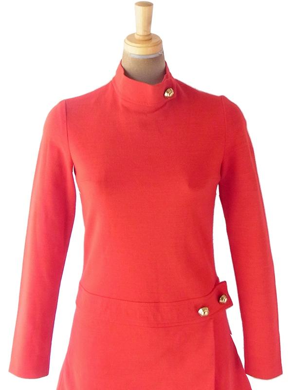 ヨーロッパ古着 フランス買い付け 60年代製 レッド X スカート前合わせ ゴールドボタン スタンドカラー ワンピース19FC316