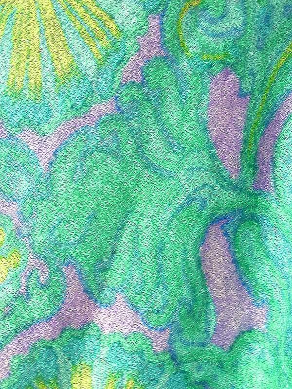 ヨーロッパ古着 フランス買い付け 60年代製 エメラルドグリーン X カラフルなレトロ柄 パイル地 フレア ワンピース 19FC319