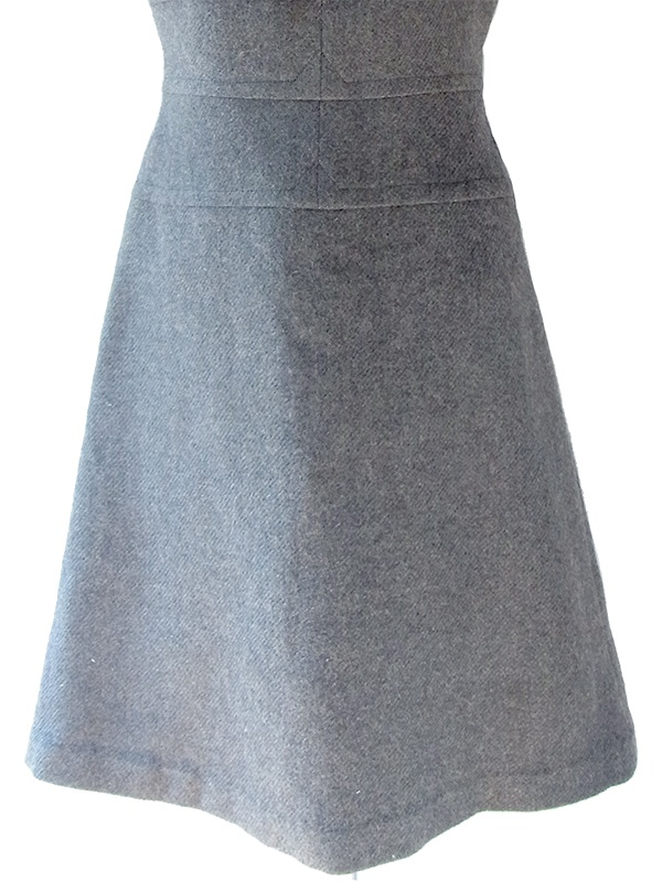 ヨーロッパ古着 フランス買い付け 60年代製 チャコールグレー X シームデザイン 厚手ウール ヴィンテージ ワンピース 19FC400