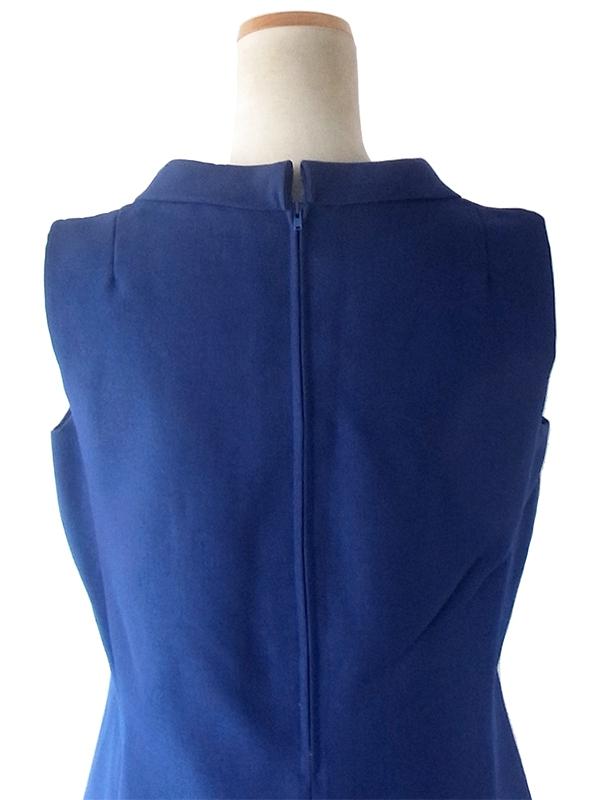 ヨーロッパ古着 フランス買い付け 70年代製 ミッドナイトブルー X 美麗シルエット ヴィンテージ ドレス 19FC410