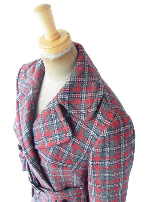 ヨーロッパ古着 フランス買い付け 60年代製 グレイ X レッド・ブルー 共布ベルト付き 厚手ウール コート 19FC414