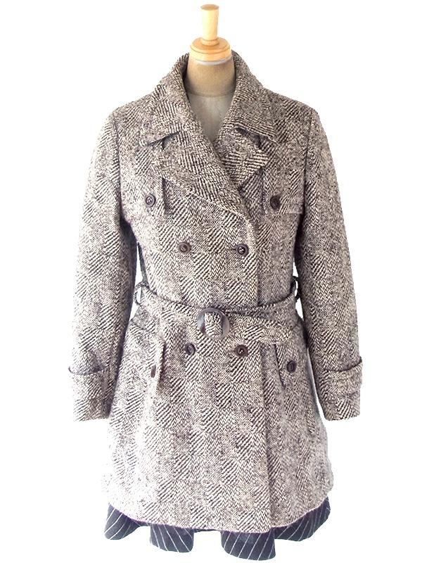ヨーロッパ古着 フランス買付け 60年代製 厚手 共布ベルト付き ウール ツイード コート 19FC412