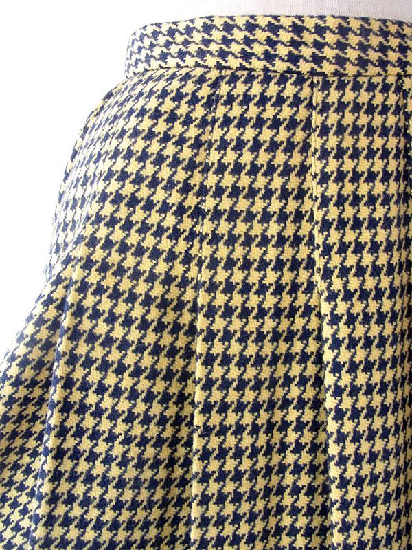 ヨーロッパ古着 フランス買付け 60年代製 イエロー X ネイビー 千鳥格子 左サイドボタン留め ウール スカート 19FC422