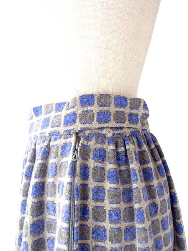 ヨーロッパ古着 フランス買い付け 60年代製 パープル X グレイ スクエア柄 ヴィンテージ スカート 19FC424