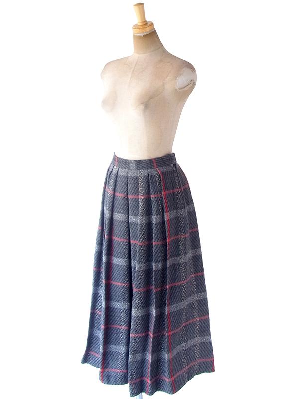 ヨーロッパ古着 フランス買い付け 60年代製 グレイ X レッド チェック柄 ヴィンテージ プリーツ スカート 19FC425