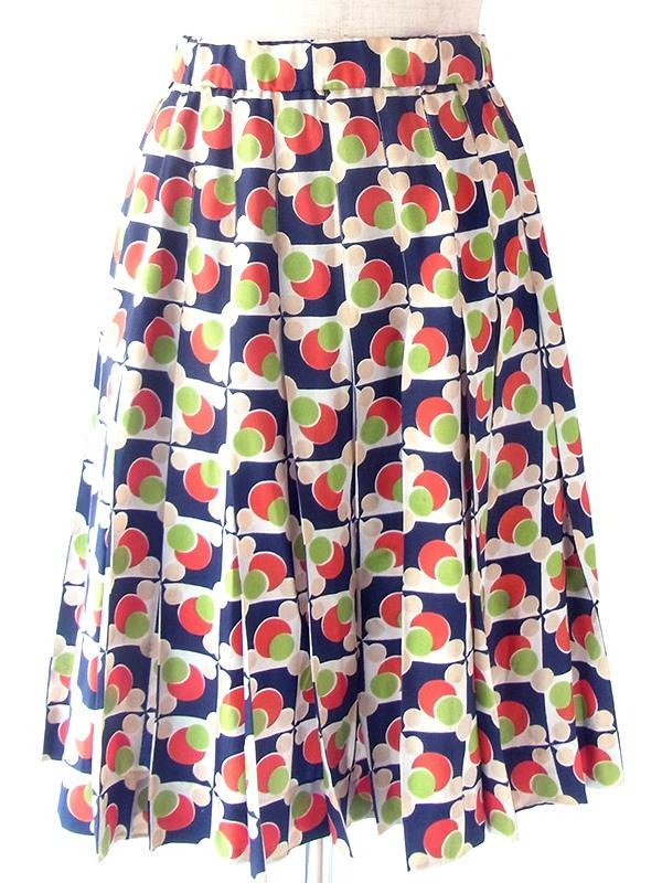 ヨーロッパ古着 フランス買い付け 70年代製 ネイビー X レッド・グリーン 水玉モチーフのレトロ柄 プリーツ スカート 19FC426
