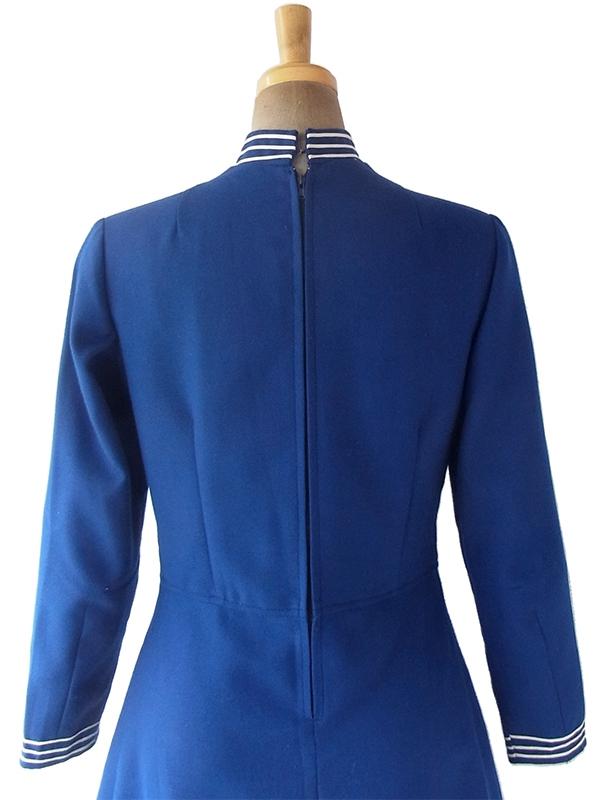 ヨーロッパ古着 フランス買い付け 60年代製 ブルー X ホワイト ライニング スカート前合わせ ワンピース 19FC428