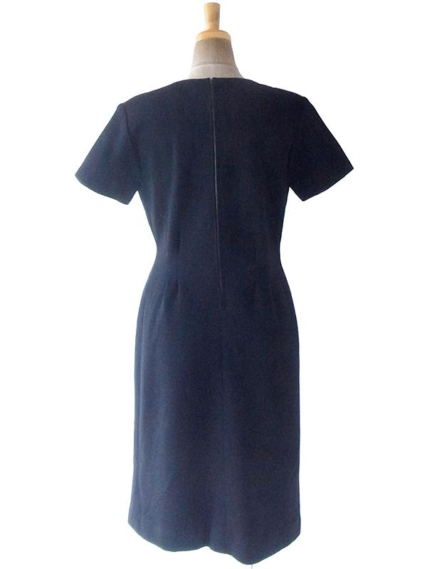 ヨーロッパ古着 フランス買い付け 60年代製 ブラック X ウェストタック ヴィンテージ 厚手ウール ドレス 19FC502