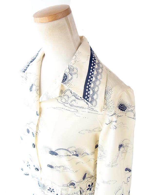 ヨーロッパ古着 フランス買い付け 70年代製 オフホワイト X ブルー レトロ柄 ヴィンテージ プリーツ ワンピース 19FC503