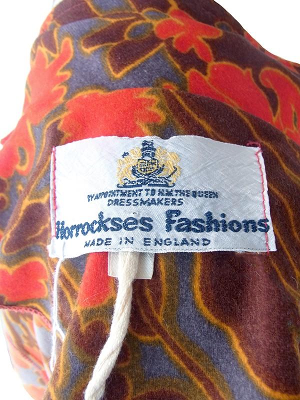 ヨーロッパ古着 70年代イギリス製 レッド・ブラウン X グレイ 花柄 レトロ模様 ヴィンテージ ワンピース 19FC506
