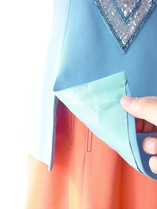 ヨーロッパ古着 フランス買い付け 60年代製 水色 X スパンコール ビジュー ヴィンテージ トップス 19FC512
