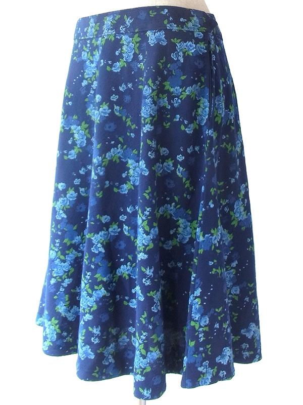 ヨーロッパ古着 フランス買い付け 60年代製 ネイビー X 水色 ・グリーン 花柄 フレア スカート 19FC519