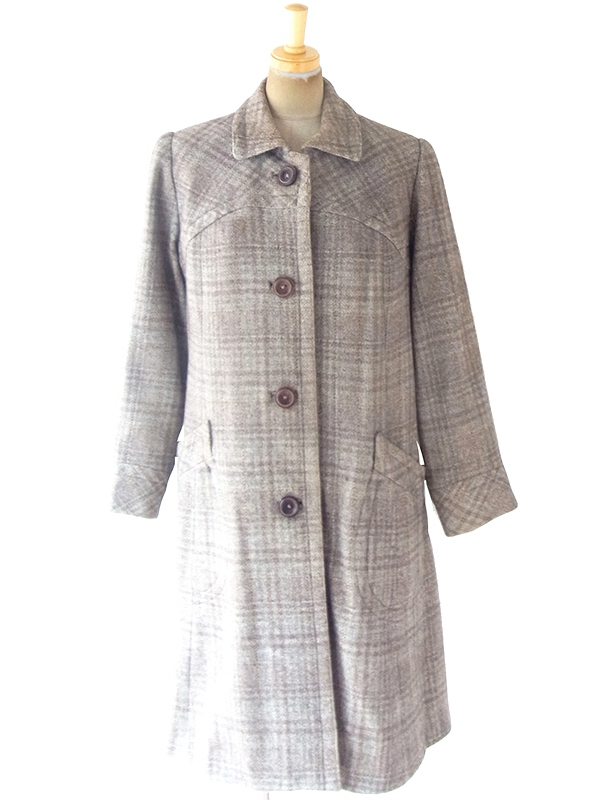 【送料無料】フランス買い付け 60年代製 グレイ X ブラウン チェック柄 Aライン 厚手ウール コート 19FC520【ヨーロッパ古着】