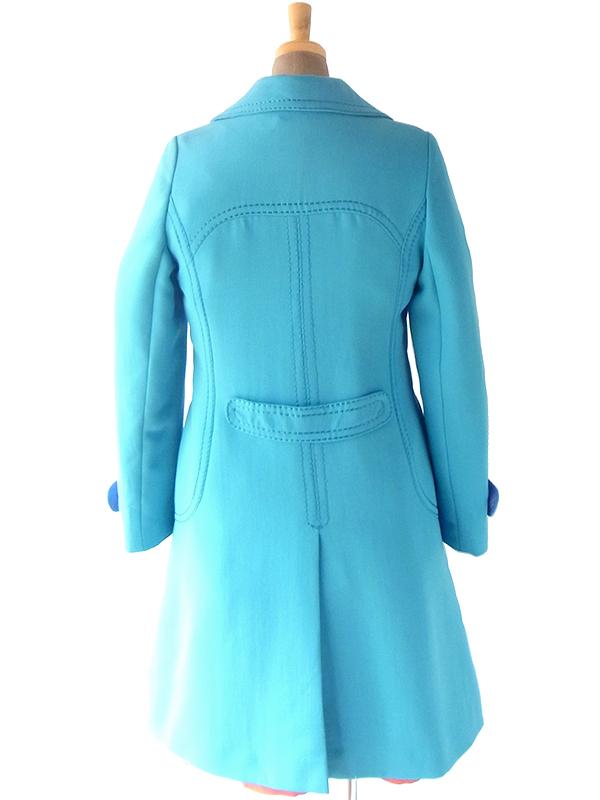 ヨーロッパ古着 フランス買い付け 60年代製 ターコイズブルー X ビッグステッチ ウール コート 19FC522