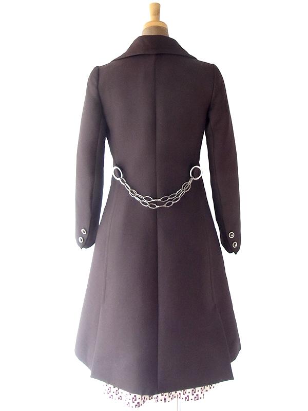 ヨーロッパ古着 フランス買い付け 60年代製 チョコレートブラウン X リングチェーン付き ウール コート 19FC523