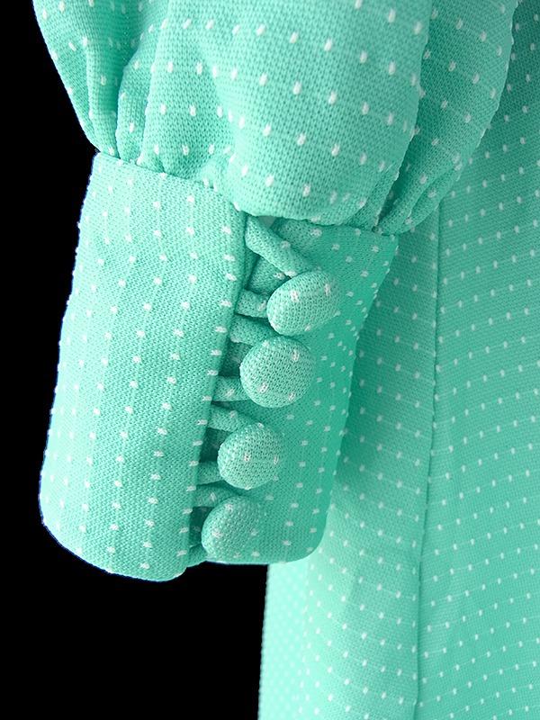 ヨーロッパ古着 ロンドン買い付け 70年代製 ミントグリーン X ピンドット刺繍 モックネック ヴィンテージ マキシ ワンピース 19OM003