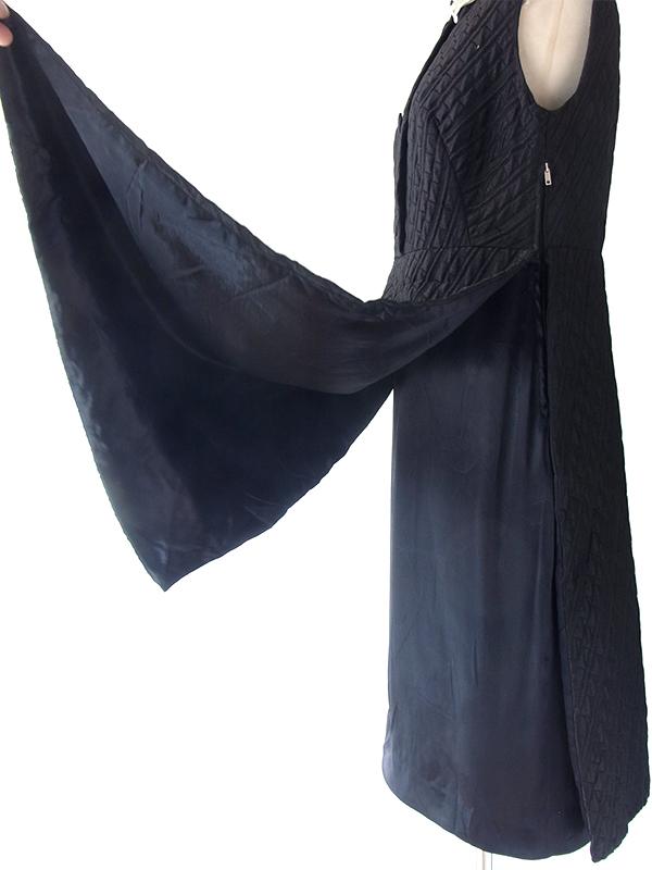 ヨーロッパ古着 ロンドン買い付け 70年代製 ブラック X ホワイト スパンコール襟 大きなスリット ヴィンテージ ワンピース 19OM1000