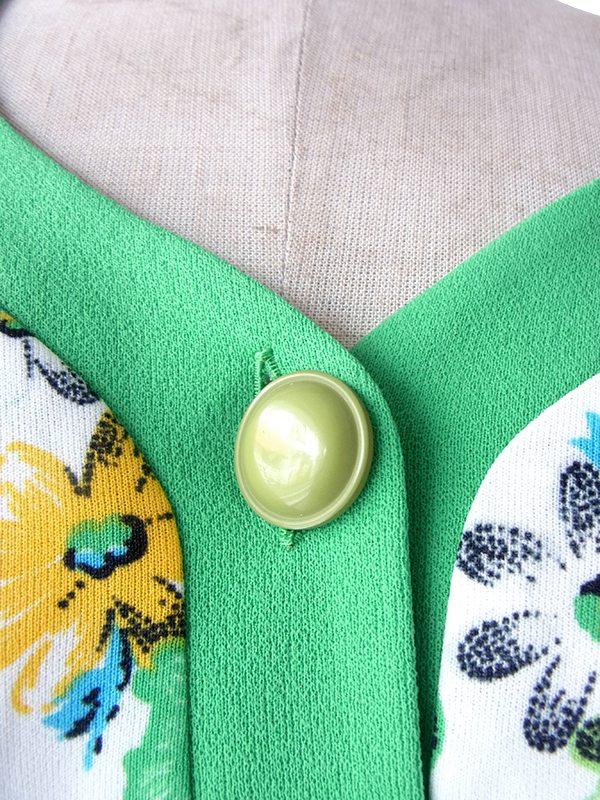 ヨーロッパ古着 ロンドン買い付け 70年代製 ホワイト X グリーン 花柄プリント ストラップ ワンピース 19OM111