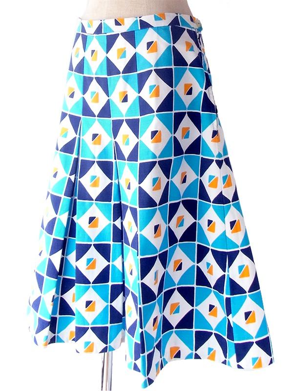 ヨーロッパ古着 ロンドン買い付け 60年代製 水色・ネイビー・オレンジ X レトロ柄 インバーテッドプリーツ スカート 19OM131