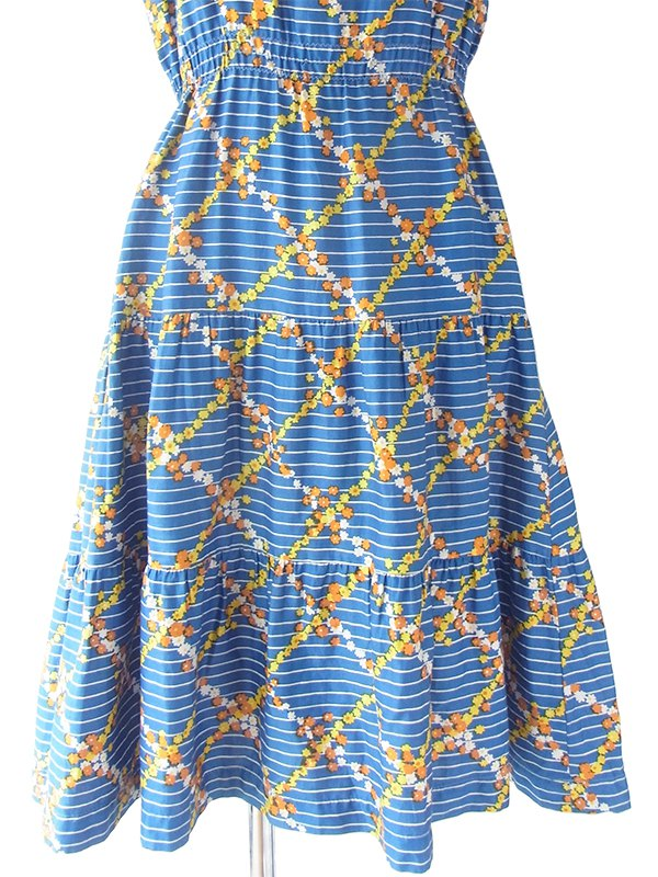 ヨーロッパ古着 フランス買い付け 60年代製 ブルー X オレンジ・イエロー花柄 ホワイト ストライプ パフスリーブ ワンピース 19OM204