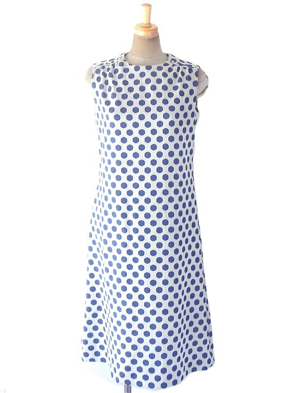 ヨーロッパ古着 ロンドン買い付け 70年代製 ホワイト X ブルー 水玉 肩口4連ボタン Aライン ワンピース 19OM400