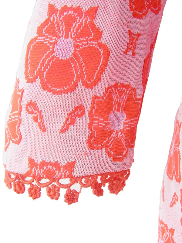 ヨーロッパ古着 ロンドン買い付け 70年代製 朱色 X 淡いパープル 花柄 テープ装飾 ヴィンテージ ワンピース 19OM409
