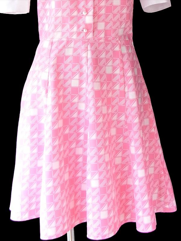 ヨーロッパ古着 ロンドン買い付け 70年代製 ピンク X ホワイト レトロ柄 ラビットカラー パフスリーブ ワンピース 19OM505