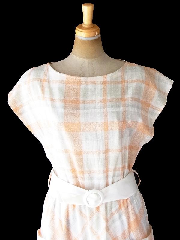 ヨーロッパ古着 ロンドン買い付け 60年代製 オレンジ X ライトグレイ チェック柄 ポケット・ベルト付き ヴィンテージ ワンピース 20BS003